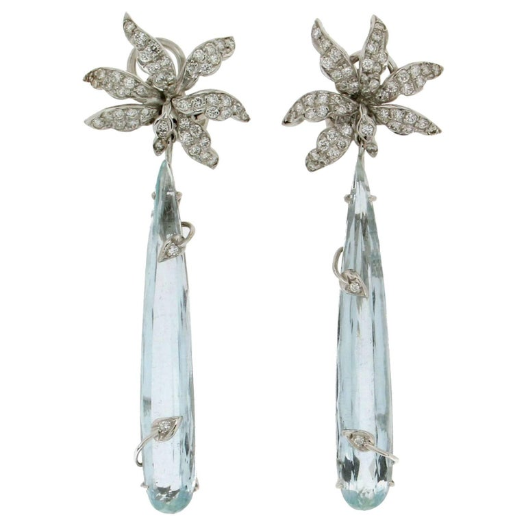 Brazilian Aquamarine 18 Carat White Gold Drop Earrings For Sale At