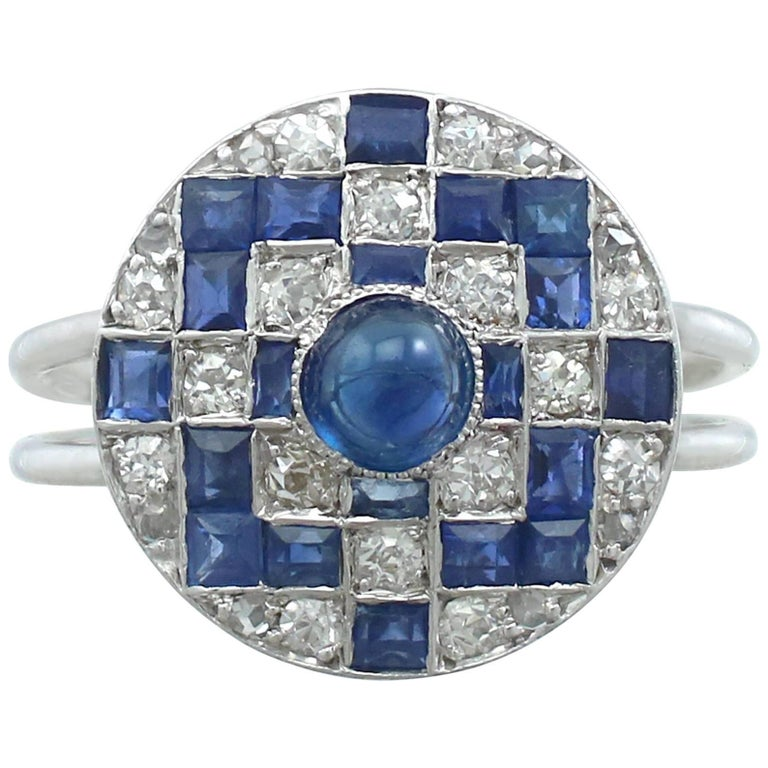 1940s Sapphire and Diamond White Gold Dress Ring