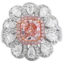 White Gold Flower Pink 1.09 ct Diamond & 1.55 ct Diamond Ring