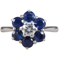Graff Sapphire and Diamond Cluster 18 Carat White Gold Ring