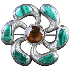 Antique Victorian Scottish Citrine Malachite Brooch, circa 1880s