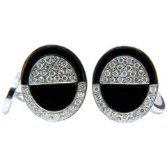 0.70 Carat White Diamond Black Hand Enameled 18 Carat White Gold Cufflinks