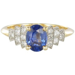 French Art Deco Style Sapphire Diamonds Ring