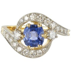 French Platinium Gold Cushion Cut Sapphire Diamonds Swirl Ring