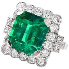 Remarkable No-Oil 7.26 Carat Colombian Emerald Diamond Platinum Ring