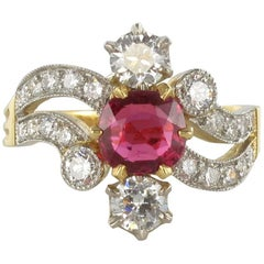 French 19th Century Style 1.09 Carat Cushion Cut Ruby Diamond Ring
