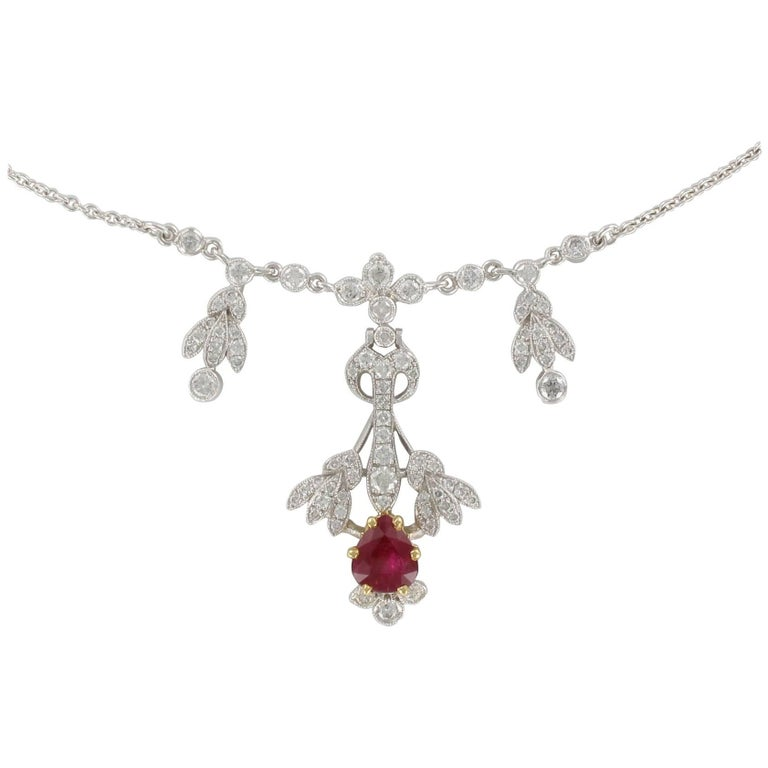 Belle Epoque Style Platinum 1.16 Carat Ruby 1.06 Carat Diamond Pendant Necklace