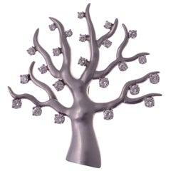 Marianne Ostier Diamond Platinum Tree of Life Brooch
