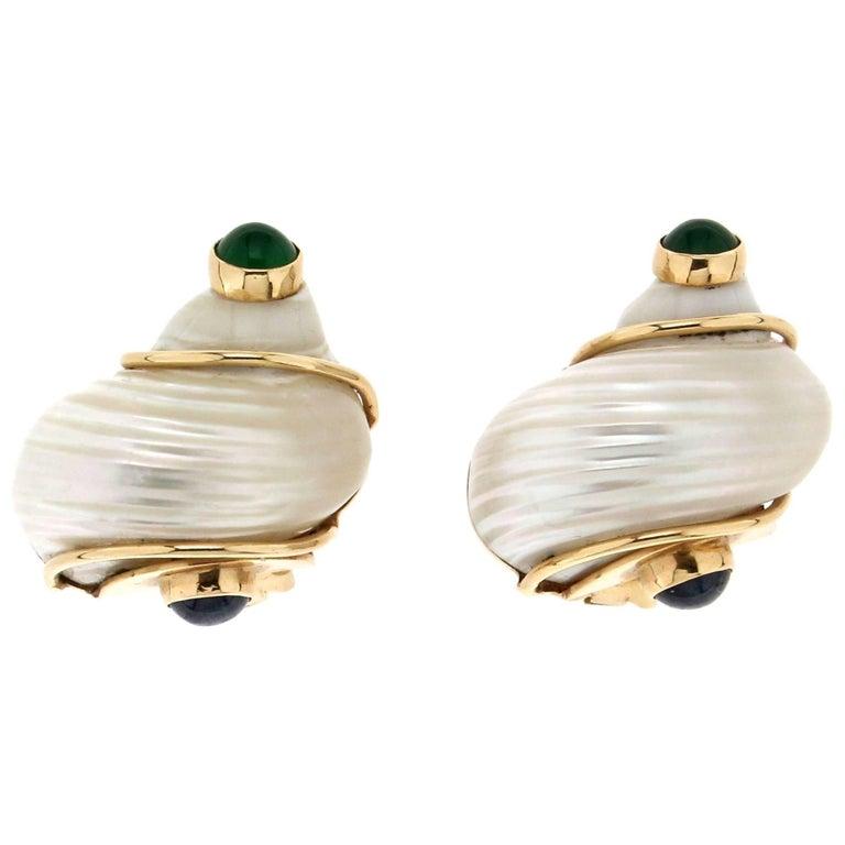 Seaman Schepps Shell Gold Earrings