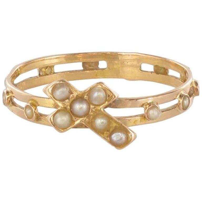 French Antique 18 Karat Rose Gold Natural Pearl Dizain Prayer Ring ...