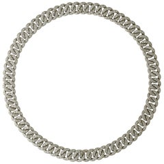 1960s Diamond Curb Link Necklace Forming Two Bracelets