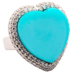Natural Turquoise Heart Ring
