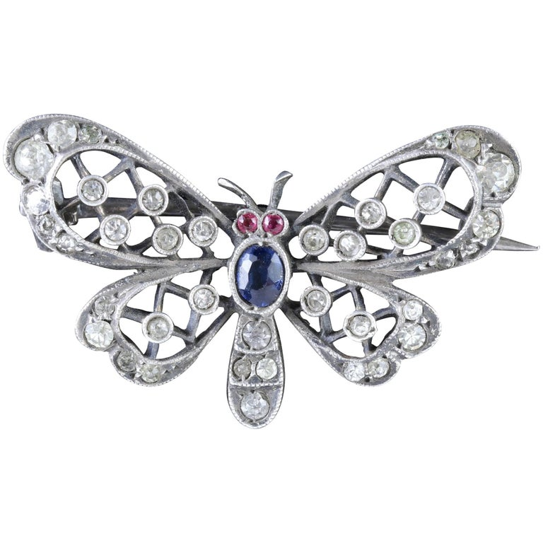 Antique Victorian Silver Butterfly Paste Brooch, circa 1900