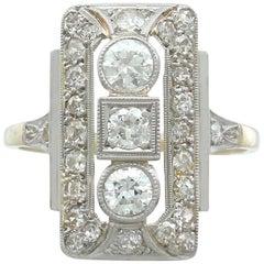 1930s 1.31 Carat Diamond Yellow Gold Dress Ring