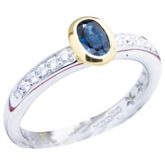 Substantial Sapphire and VS1 G Diamond two tone 18kt Gold Engagement Ring