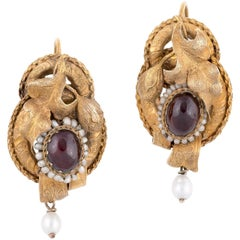 Pair of Gold Cabochon Garnets and Seed Pearls Victorian Earrings
