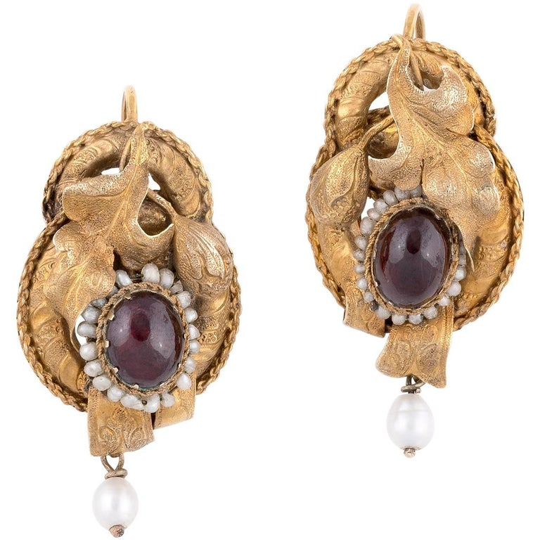 Pair Of Gold Cabochon Garnets And Seed Pearls Victorian Earrings For
