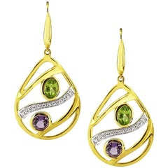 Yellow Gold Drop with Colored Stones and Brilliant Cut Diamonds Earrings