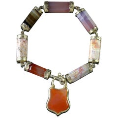 Antique Victorian Scottish 15 Carat Gold Agate Padlock Bracelet, circa 1860