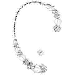 Akillis Python Earcuff 18 Karat White Gold Half-Set White Diamonds