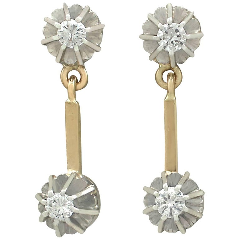 1930s Diamond and Yellow Gold Drop Earrings
