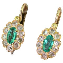 Edwardian Emerald and Rose Cut Diamond Marquise Cluster Earrings