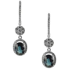 White Gold 1.93 ct Sapphire and Brilliant Cut 0.61 ct Diamonds Earrings
