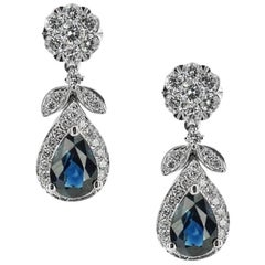 White Gold 1.21 ct Sapphire and Brilliant Cut .49 ct Diamonds Earrings
