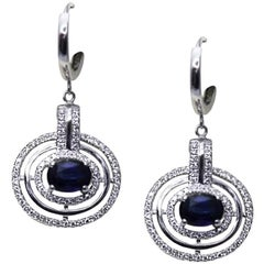 White Gold 2.10 ct Sapphire and Brilliant Cut 0.75 ct Diamonds Earrings