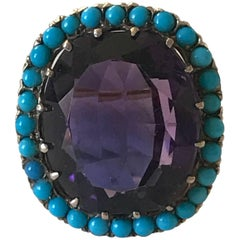 Amethyst and Turquoise Dress Ring
