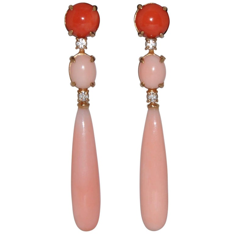 Coral and White Diamonds Yellow Gold 18 Carat Chandelier Earrings