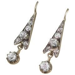 Victorian 0.96 Carat Old Cut Diamond Drop Earrings