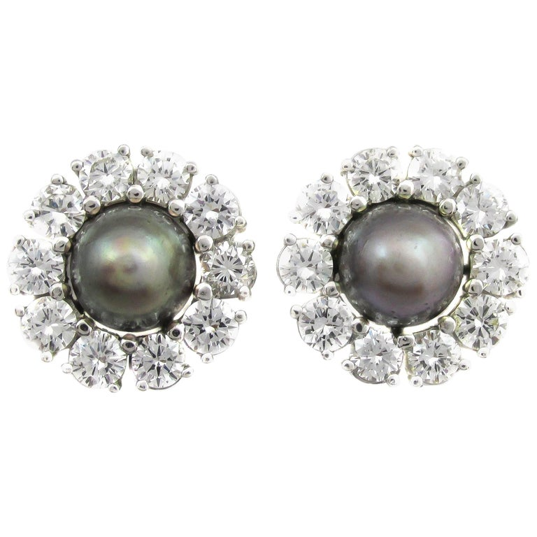 Rare Grey Natural Saltwater Pearl Diamond Gold Earrings