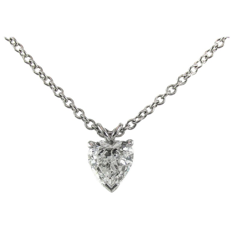 GIA Certified .99 Carat Heart Shaped Diamond Platinum Pendant