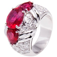 Ella Gafter Ruby and Diamond White Gold Cocktail Ring