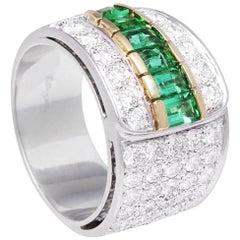 Ella Gafter Emerald Diamond Band Cocktail Ring