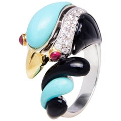 Ella Gafter Diamond Turquoise Black Onyx Ruby White Gold Parrot Cocktail Ring