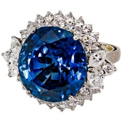 Impressive 27 Carat Untreated Burma Sapphire Diamond and Platinum Ring