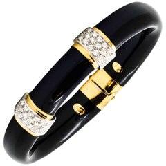 Soho 18 Karat Yellow Gold, Black Enamel 1.32 ct Diamond Bangle Bracelet