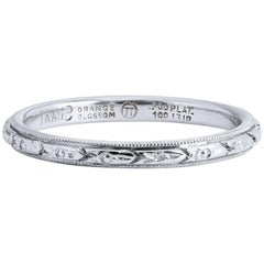 Orange Blossom Estate Engraved Platinum Eternity Band Ring Size 6