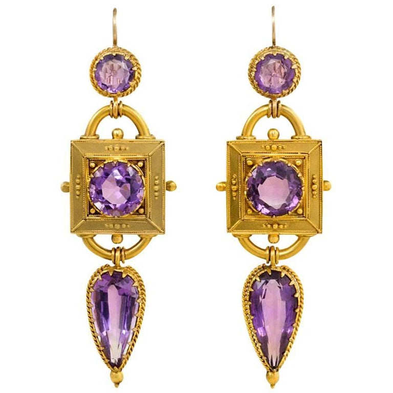 Victorian Etruscan Revival Gold and Amethyst Pendant Earrings