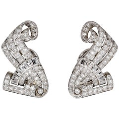 Retro Diamond and Platinum Earring Clips