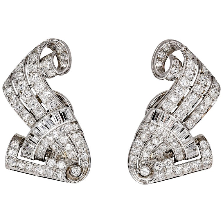 Retro Diamond and Platinum Earring Clips For Sale