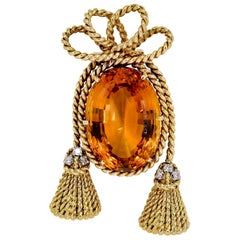 Tiffany & Co. Schlumberger Citrine, Diamond and Gold Brooch