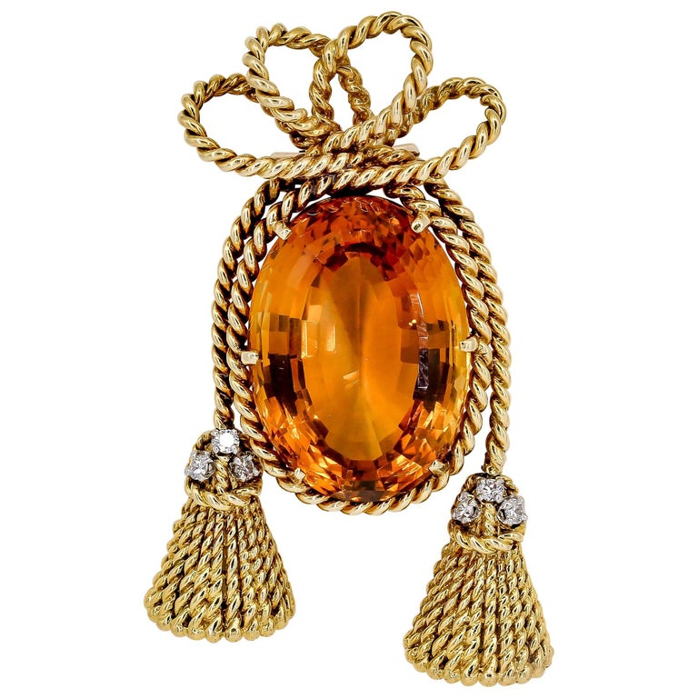 Tiffany & Co. Schlumberger Citrine, Diamond and Gold Brooch For Sale
