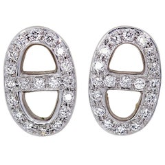Hermes Chaine D'Ancre Diamond White Gold Earrings