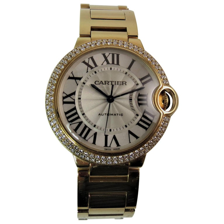 Cartier Yellow Gold Diamond Never Worn Ballon Bleu Automatic Bracelet Wristwatch