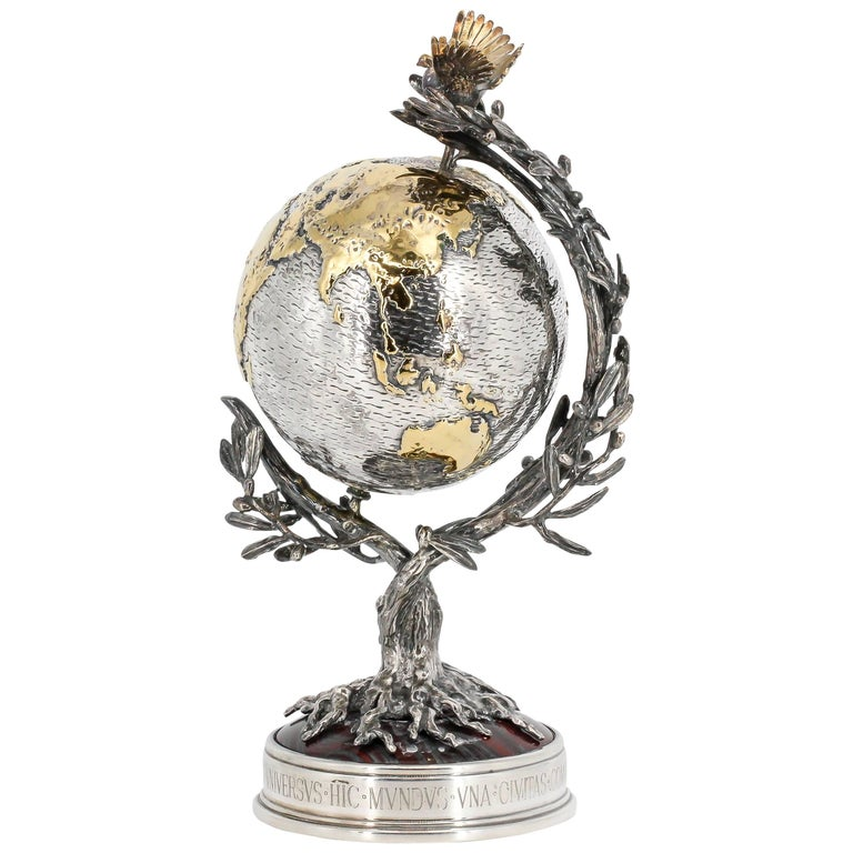 Buccellati Millenium Globe Sterling Silver Tiger's Eye Limited Edition Globe