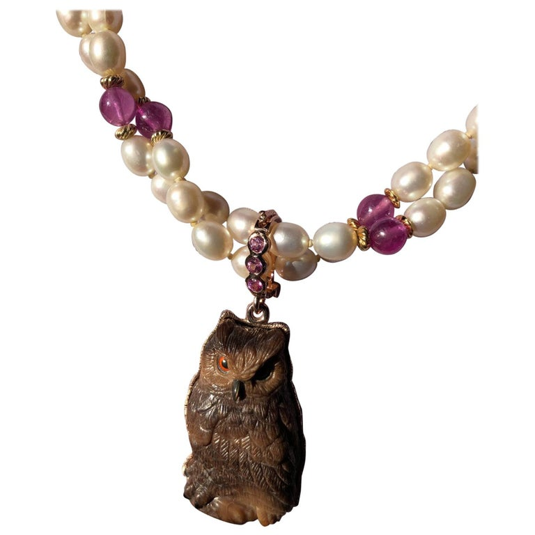Petrified Palm Owl Pendant with Pink Sapphire and Pearl Necklace