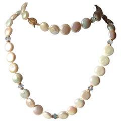 Coin Pearl Aquamarine Necklace